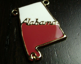 Enamel Alabama State Pendant in Red and White