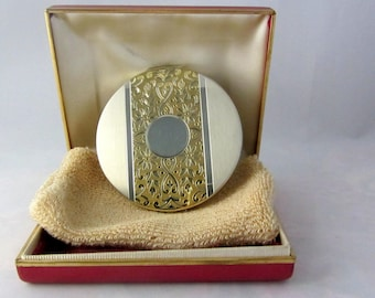 """Vintage """"Sterling"""" 1940's Elgin American Compact With Original Box and Sleeve Never Used Mint Condition"""