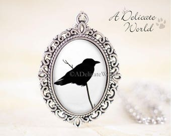 Crow Pendant, Gothic Raven Necklace, Black Bird Silhouette Jewelry, Black and White Accessory, Goth Gift Present