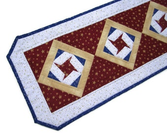 "Quilted Table Runner ""Star Spangled"" Patriotic Tablerunner, Quiltsy Handmade Table Mat, Red, White and Blue Table Topper, Quilted Patchwork"