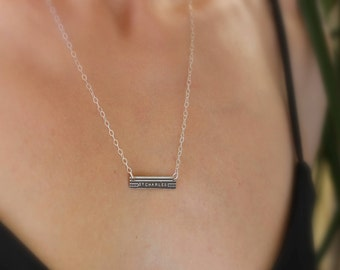 St. Charles Etched Necklace of New Orleans Map in Silver