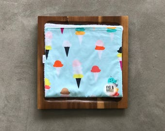 Baby Girl Burp Cloth, Ice Cream Cones, Baby Shower gift, Baby shower Girl, New Mom gift,  Burp Cloth, Ice Cream, Gender Neutral