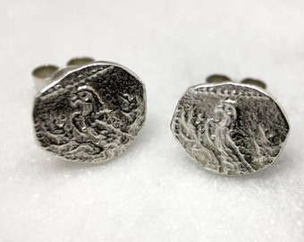 Silver Parrot Coin Earring Studs