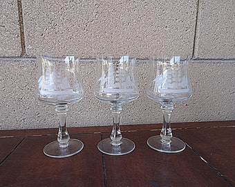 RESERVED for Vintage Lucia 3 Clipper Ship Etched Crystal Wine Glasses, Toscany Etched Crystal Wine Glasses, Vintage Ship Stemmed Glasses
