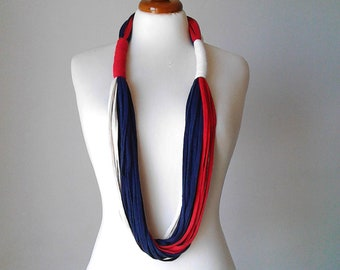 Bib necklace 4th of July 4th american flag patriotic jewelry independence day USA flag red white and blue necklace blue red white jewelry