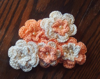 Set of 5, crocheted, thread,flowers,peach,cream,appliques,clothing,bags,purses,hair,decoration