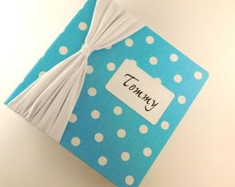 Baby Memory Book Baby Photo Album Picture Scrapbook Boy Girl 4x6 5x7 8x10 Blue Polka Dot Baby memory Book pregnancy Journal