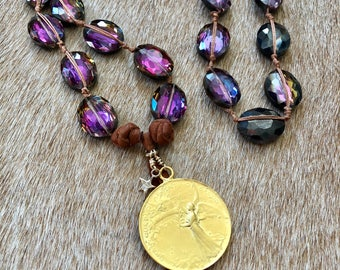 Plum Chucky Statement Crystal Coin Charm Necklace