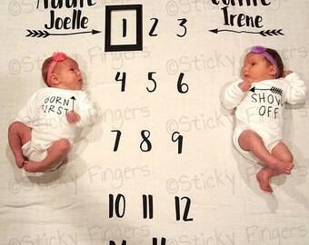 Twins Personalized Milestone Blanket
