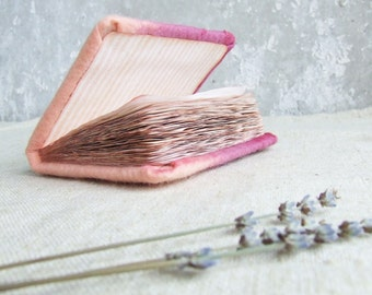 SALE Flower journal Felted pink notebook lilac peach flower shabby chic heart bookmark for girl woman girl pastel cij