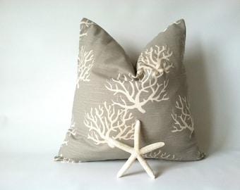 Nautical Euro Pillow Cover - One, 24 x 24, Taupe Beach Pillows, Ocean Decor, Sea Coral Pillow, Beach Decor
