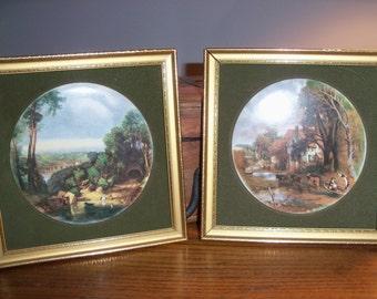 Set of 2 Vintage England Round Ceramic Tile Framed and Matted in Velvet Constable Series