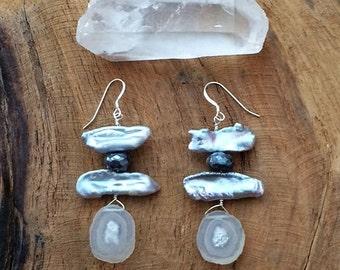 Baroque Freshwater Pearl Earrings / Labradorite Earrings / Bohemian Earrings / Gemstone Earrings