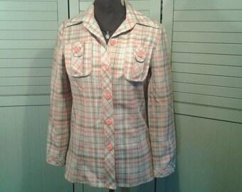 1960's Shirt Jacket Pointed Collar Orange Tan Plaid Button Lightweight Spring Vintage Mid Century Retro The Villager Womens Small Medium