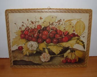 Decoupage Picture Fruit Still Life Cherries on a plate Handmade art from a Giovanna Garzoni's Painting