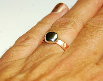 Mixed Metal Ring - Metalwork Ring - Copper and Sterling Silver - US size 8.5 - Recycled Jewelry