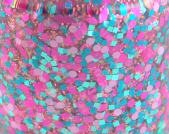 Fuchsia Pink Teal Glitter Nail Polish 5 free nail polish indie nail polish vegan cruelty free