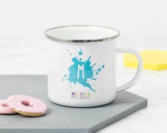 Initial And Name Enamel Mug, Name Gift, Personalised Gift for friend, Personalized Enamel Mug, Fun Mug,