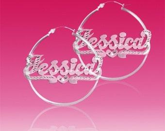 "SNSFD100 Personalized Sterling Silver Diamond Cut 1"" size Hoop Name Earrings"
