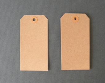 """75 Kraft Tags,  4 3/4"""" x 2 3/8""""  Brown Kraft Tags, Parcel Tags, Hang Tags, Kraft Reinforced Holes, Shipping Tag, Gift wrapping, Scrapbooking"""