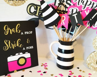 Pink, Black, White, and and Gold Birthday Photo Booth Props