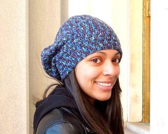 Crochet Slouchy Hat, Women, Men, Teen, Blue, Multicolor, Tam, Merino Yarn,