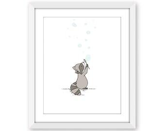 Woodland Nursery Art -- Raccoon Bubbles -- Bubbles Nursery Art --  Raccoon Nursery Art Print -- Children Art -- Kids Wall Art -- Nursery Art