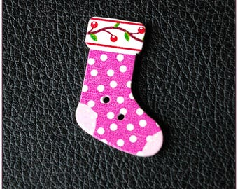 Christmas socks pattern wooden buttons 04 x 1