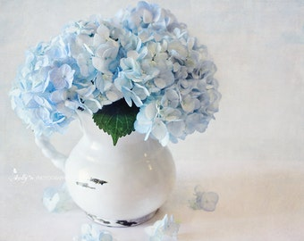 Hydrangea Photograph- Blue Hydrangea Print, Blue and White Art, Floral Still Life, Cottage Decor, Flower Photography, Floral Wall Art