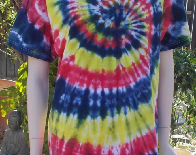 Vintage Blue Red Yellow Psychedelic Spiral Unisex Hippie Tie Dye 100% Cotton Hanes Short Sleeve Tie Die T-shirt