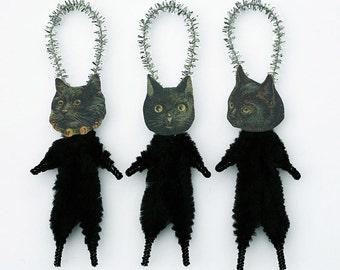Black Cat Halloween Decorations - Handmade Primitive Cat Ornaments