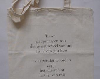 linnen tas, Riann, vrouw, vers, Poëtisch Realisme, verzamelen, print, cadeau, verjaardag, winkelen, school, meisje, shoppen, poëzie, liefde