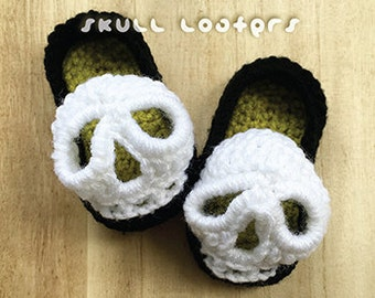 Crochet Pattern Halloween Skull Baby Loafers Preemie Newborn Baby Crochet Booties Skeleton Bones Halloween Skull Booties Socks Sandals