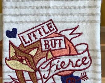 little but fierce-embroidered fox tea towel
