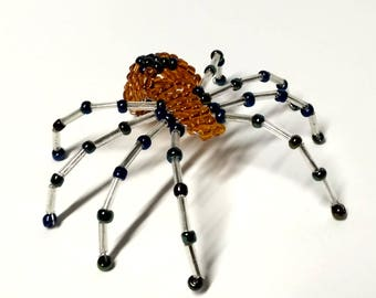 Hand made Beaded insect, Beaded  Decor, Spider Ornament, Beading Lover Gift, orange and black spider
