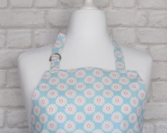 Daisy Chintz Adult Apron,Adjustable Apron, Kitchen, Cooking, Home, Apron, Aqua, Blue, Country, Fabric,