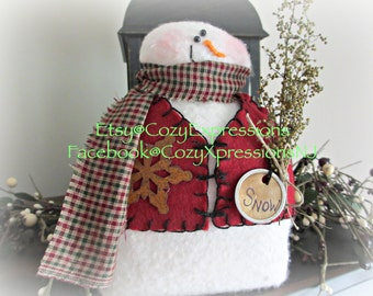 Handmade Primitive Snowman | Vested Snowman | Fabric snowman | Holiday decoration | Winter decoration | Christmas decoration | country decor