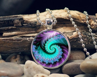 Blue and Purple FRACTAL pendant hand pressed 1 inch cabochon Artisian style photo pendant gift for her   FM1