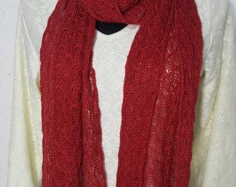 Alpaca Scarf, Handmade Alpaca Scarf, Suri Alpaca Scarf, Knit Lace Scarf, Homegrown Suri Alpaca, Scarf, Hand Dyed Red