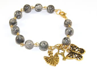 Recovery 12 Step Bracelet, Sobriety Gift - Grey Agate Beads, Angel & Butterfly Charms