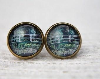 Monet Earrings, Water Lily Pond, Art Earrings, Studs, Stud Earrings, Post Earrings, Small Studs, Glass Dome Earrings, Monet Jewellery, Monet
