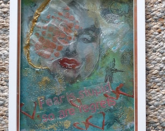 ART SALE: Marilyn Monroe 'Fear Is Stupid' Mixed Media Artwork