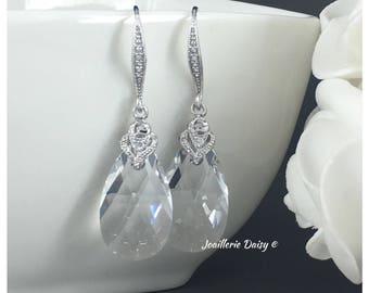 Swarovski Pear Earrings Crystal Earrings Bridesmaid Crystal Jewelry Bridal Earrings Gift for Her Wedding Gift for Momss Dangle Earrings
