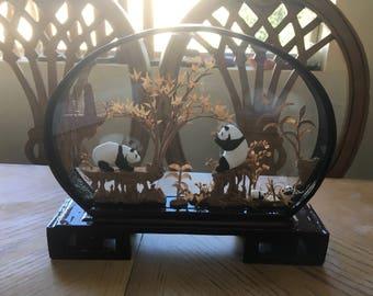 Panda family oriental art, Beautiful gift, oriental folk art, Japanese zen, miniature art, miniature landscape, Zen Garden,hand crafted