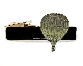 Silver Hot Air Balloon Tie Clip Inlaid in Hand Painted Enamel Aircraft Tie Bar Accent Neo Victorian Pioneer Ship with Custom Color Options