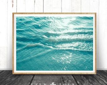 Ocean Water Wall Art Print, Coastal Beach Photography, ModernMinimal, Large Poster, Instant Digital Download, Printable Decor, Aqua Blue