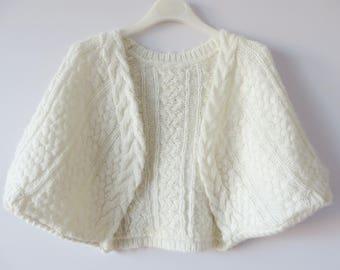 Vintage Ivory White Wedding Shrug Knitted Bolero Cardigan Bridal Short Sleeve Jacket White Stole Milk White Knit Bolero Jacket Size Medium