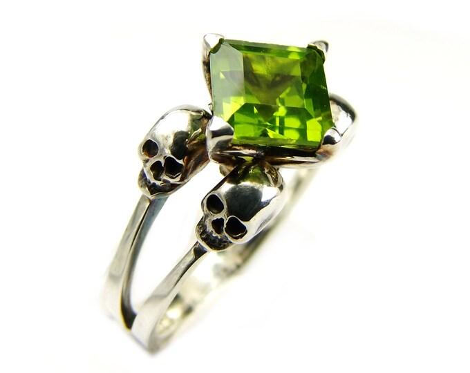 Valentine Skull Ring 6.75 READY TO SHIP Poison Green Peridot Goth Wedding Ring Sterling Silver Green Skull Engagement Psychobilly Art Ring