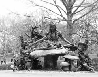 Alice in Wonderland, Central Park, New York Photography, Black and White Print, Alice Statue, kids room decor, Wall Art
