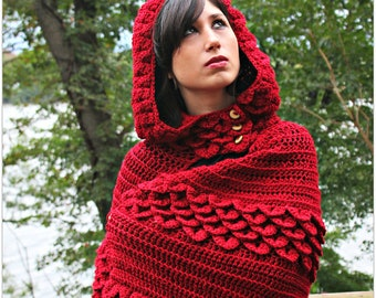 CROCHET PATTERN: Crocodile Stitch Hooded Cape - Permission to Sell Finished Product